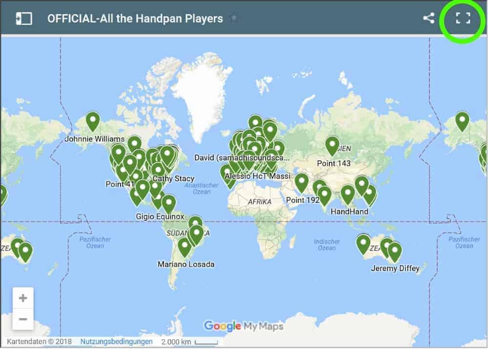 Handpan Community Weltkarte auf ganzem Bildschirm