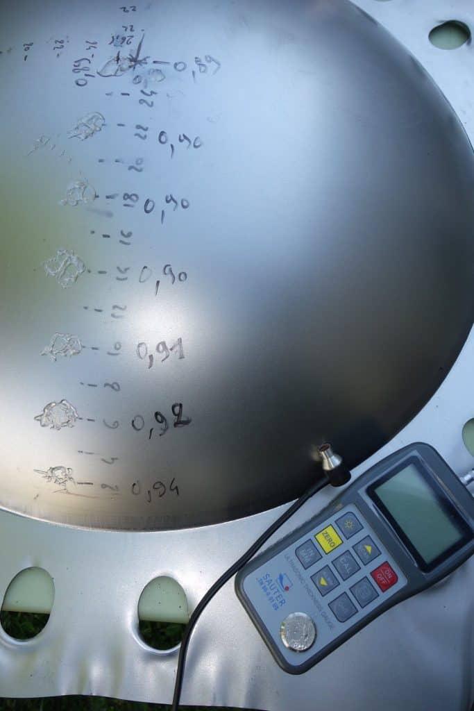 Auswertung der Materialstärke nach Hydrophorming