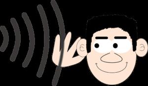Schallwellen fliegen durch die Luft zum Ohr