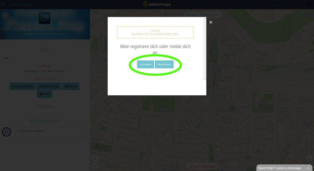 2. Handpan Community Weltkarte: Anmelden oder Registrieren