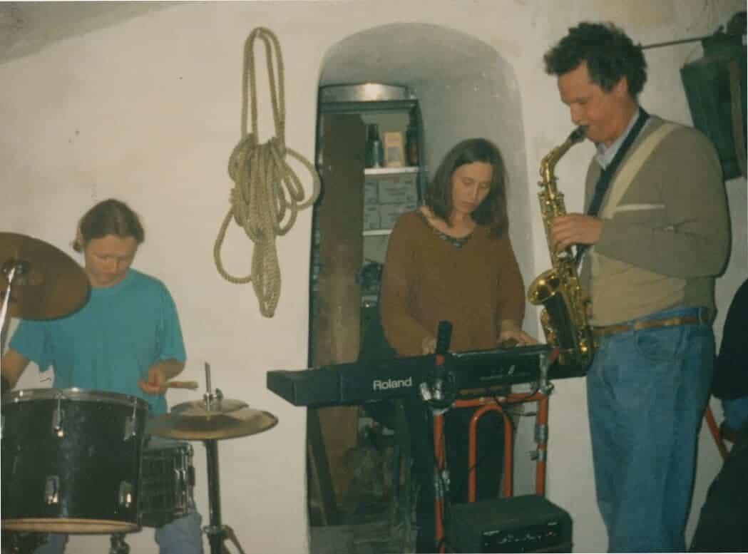George Townsend mit seinem Vater und dessen Frau