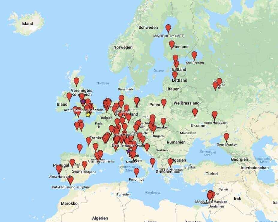 Handpan Hersteller in Europa (Stand September 2018)