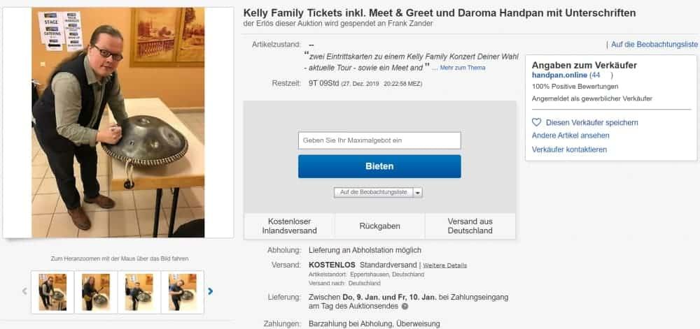Kelly Family Handpan 25 Years over the Hump Tickets Meet & Greet Versteigerung