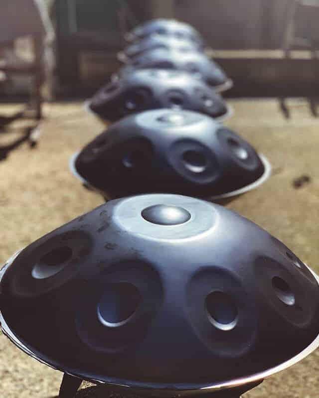 Mercury Handpans in row